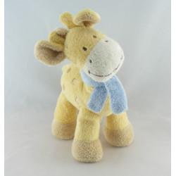 Doudou Girafe jaune et marron avec écharpe bleue Nicotoy