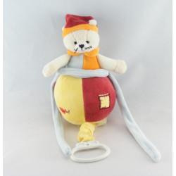 Doudou plat chat ours rouge jaune bleu BABY NAT