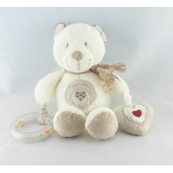 Doudou ours avec mouchoir doudou plat Mon Coeur POMMETTE