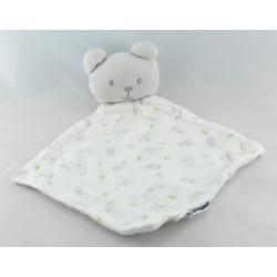 Doudou plat blanc imprimé animaux Ours Cocoon