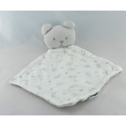 Doudou plat ours gris blanc imprimé animaux Cocoon