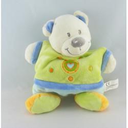 Doudou ours bleu vert jaune coeur NICOTOY