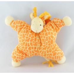 Doudou semi plat girafe vache beige taches orange rose NATTOU
