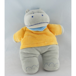 Doudou plat hippopotame gris orange BEBEREVE