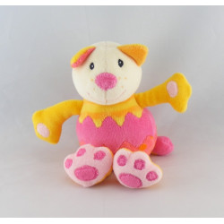 Doudou plat rond chat jaune rose dentition BABYSUN