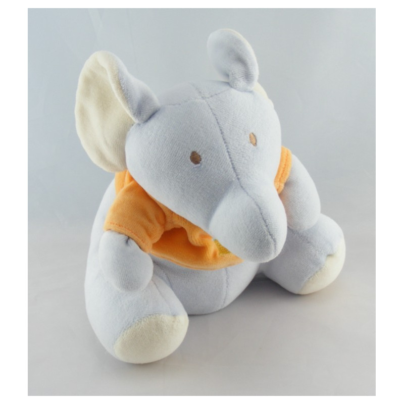 Doudou plat éléphant orange cirque INFLUX