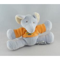 Doudou éléphant bleu orange cirque INFLUX