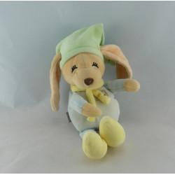 Doudou lapin chien Loulou bleu vert jaune ANNA CLUB PLUSH