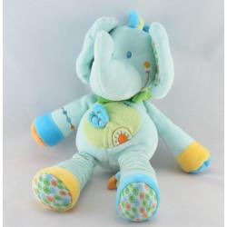 Doudou éléphant bleu vert feuille NICOTOY
