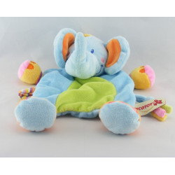 Doudou plat éléphant bleu vert noeuds NICOTOY