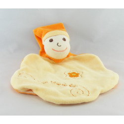 Doudou plat coeur lutin orange Un Rêve de Bébé