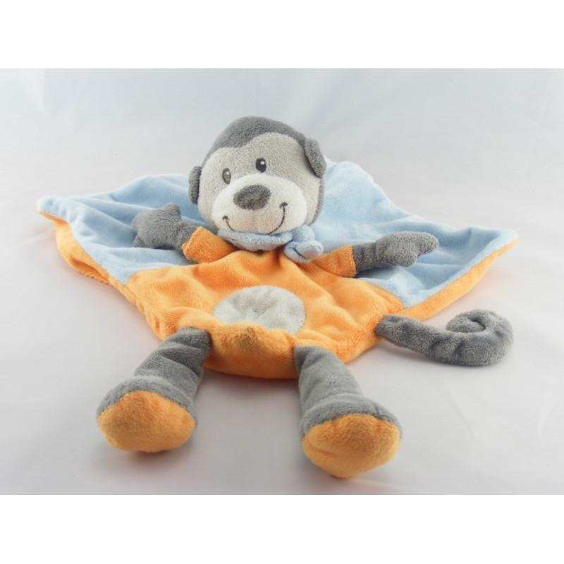 Doudou plat singe orange bleu KITCHOUN KIABI NICOTOY