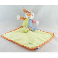 Doudou plat dentition lapin vert bleu TIAMO COLLECTION