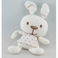 Petit Doudou lapin blanc robe rose à pois