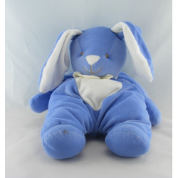 Doudou lapin bleu au ventre blanc Bengy 36 cm