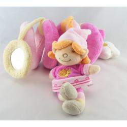 Doudou poupée lutin fille robe rose escargot brodé Flora BENGY