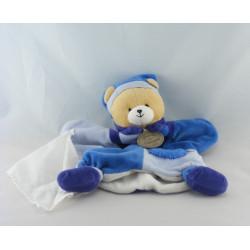 Doudou et compagnie plat marionnette ours fun bleu mouchoir