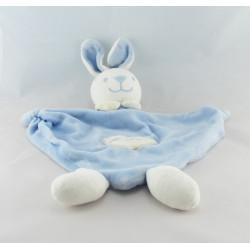 Doudou plat lapin blanc bleu PROVERA