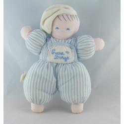 Doudou poupée fille robe rayé bleu SUCRE D'ORGE