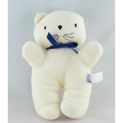 Doudou plat chat blanc bleu SUCRE D'ORGE
