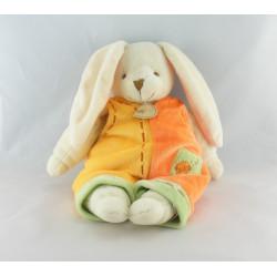 Doudou lapin blanc salopette jaune orange BABY NAT NEUF