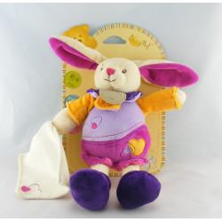 Doudou plat noeuds lapin violet mauve jaune NAT