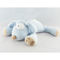 Doudou chien couché bleu cocard blanc OBAIBI