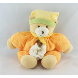 Doudou ours orange bonnet jaune mouchoir BABY NAT