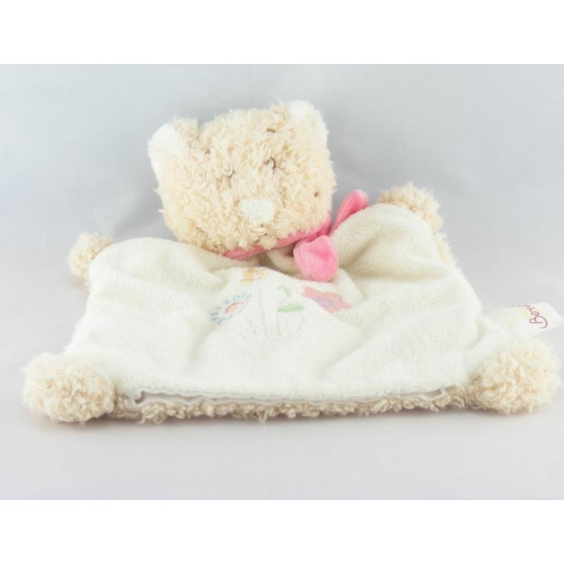 Doudou chat ours beige blanc rose fleur BENGY lot de 2