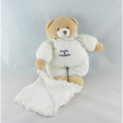Doudou et compagnie ours blanc mouchoir dentelle