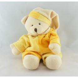 Doudou plat ours jaune orange poche CMP