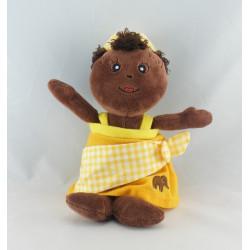 Doudou poupée fille métis robe jaune NOUNOURS