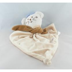 Doudou plat ours bordeaux blanc rose coeurs STOLLE