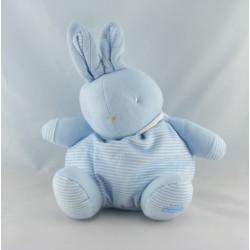 Doudou Lapin boule bleu blanc rayé KLORANE