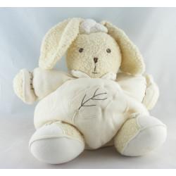 Doudou lapin patapouf écru beige feuille KALOO
