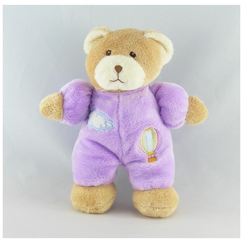 Doudou ours violet nuage montgolfiére GIPSY