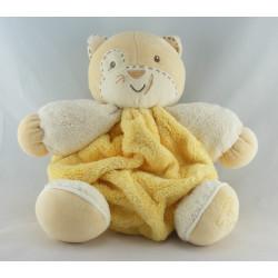 Doudou ours plume jaune blanc KALOO