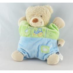 Doudou plat carré ours bleu vert tracteur TEX BABY