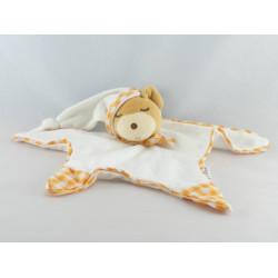 Doudou plat noeuds ours endormi vichy orange Kaloo