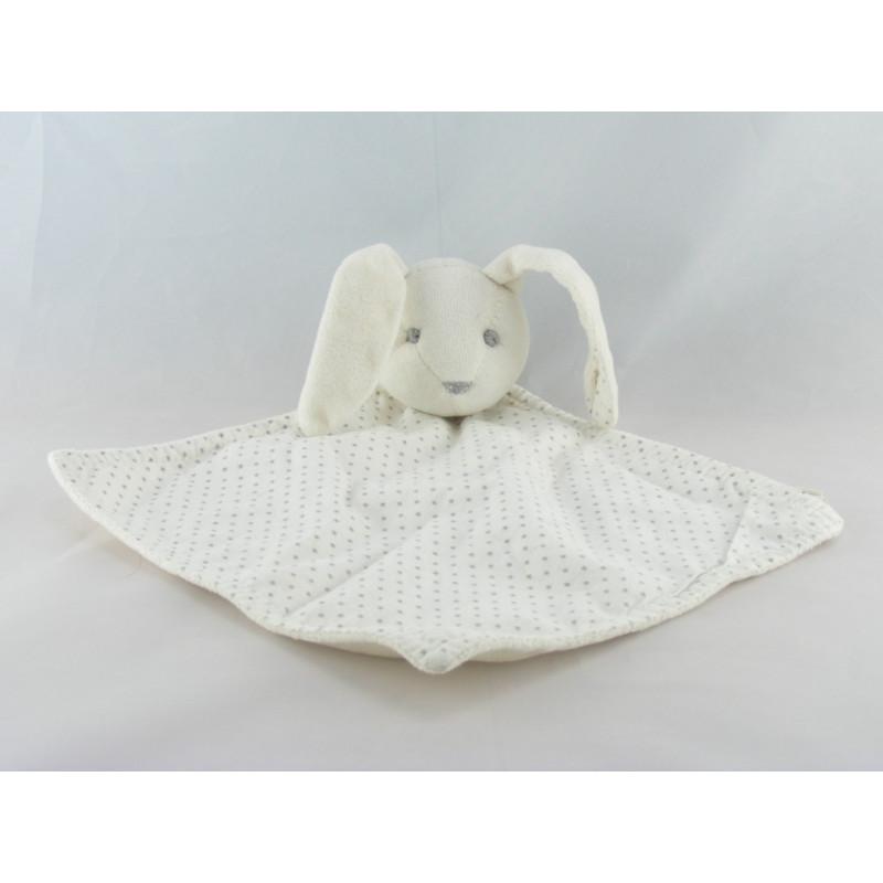 Doudou lapin blanc écharpe beige vichy SERGENT MAJOR
