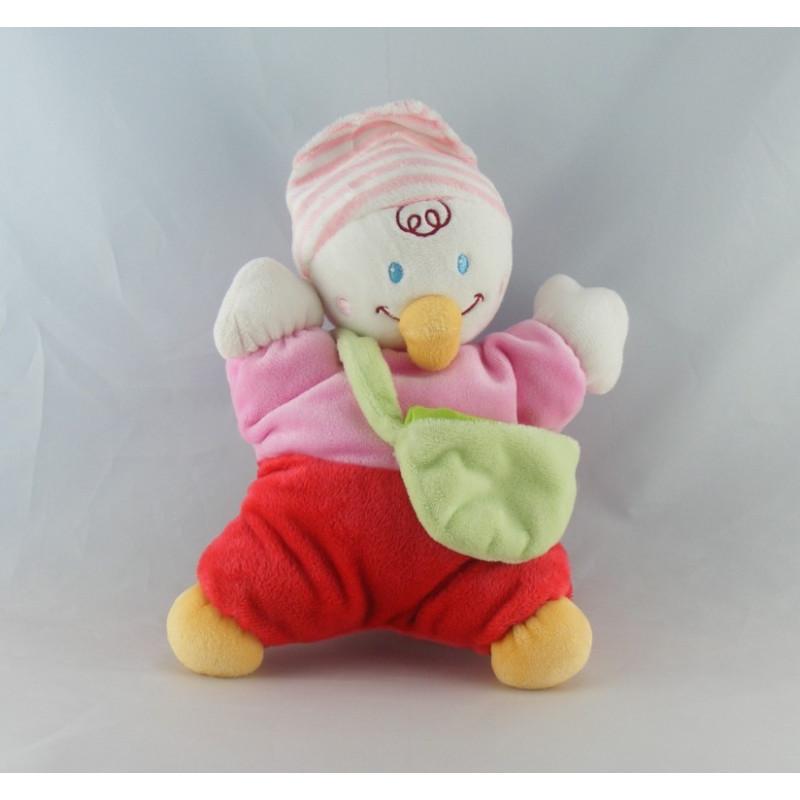 Doudou semi plat canard rose rouge avec bébé NICOTOY