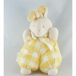 Doudou lapin blanc carreaux bleu HISTOIRE D'OURS