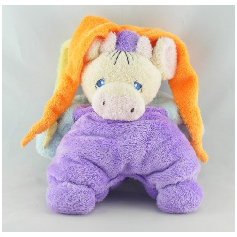 Doudou semi Plat Vache violet bonnet Joker Nounours