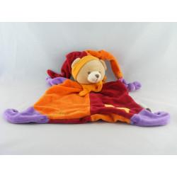 Doudou plat marionnette ours arlequin rouge orange  BABY NAT