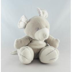 Doudou plat éléphant blanc écru écharpe grise TIAMO