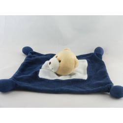 Doudou plat ours bleu SABILUC