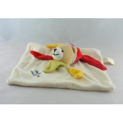 Doudou et compagnie plat ours arlequin blanc jaune rouge vert