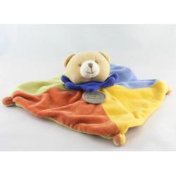Doudou et compagnie Plat Ours arlequin bleu jaune orange vert