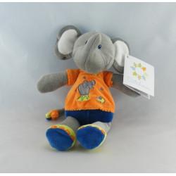 Doudou éléphant bleu orange étoile cirque NICOTOY