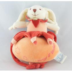 Doudou et compagnie lapin Bonnie étoile orange carambole